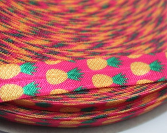 Hot Pink Pineapple FOE 5/8 -Fold Over Elastic 5/8 inch by the yard...Print FOE, Headbands, Hair Ties and More!