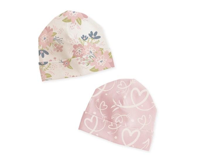 Newborn Hat, Newborn Baby Hat, Newborn Coming Home Hat, Newborn Girl Beanie, Baby Girl Hat, Baby Headwear, Pink Floral, Pink Heart, Tesababe