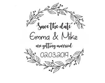 Save the date stamp / Custom Wedding Stamp/ Initials Stamp / Monogram stamp / Wedding Invitations