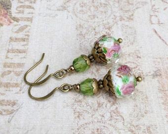 Green Earrings, Olive Green Earrings, Pink Earrings, Pink Flower Earrings, Flower Earrings, Czech Glass Beads, Lampwork Earrings, Gifts