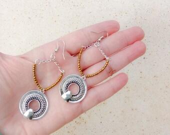 Tribal Earrings, Chain Earrings, Beaded Earrings, Horseshoe Earrings, Western Earrings, Cowgirl Dangle Earrings, Boho Silver Earrings