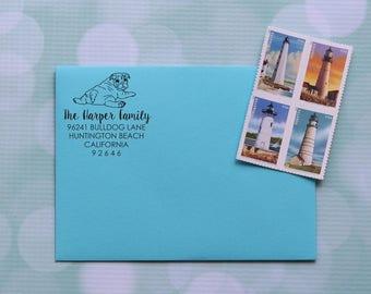 Bulldog Address Stamp, Dog Address Stamp, American Bulldog Stamp, Bulldog Stamp, Self Inking Address Stamp, Family Address Stamp, 0044