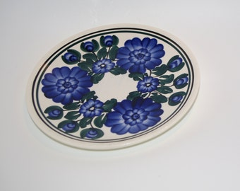 Vintage decorative Polish plate Ceramic Hand Painted White Blue Flowery Flower Kolo Made in Poland Polish pottery Polish ceramics wall dish