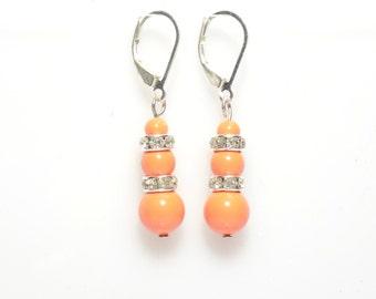 Earrings, orange earrings, coral earrings, 3 pearl earrings, silver earrings, bridesmaid earring, bridal gift, dangle earring, bead earring