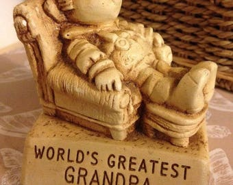 """1974 """"worlds Greatest Grandpa"""" Vintage Paula Figure See Pic For Condition and 1976 I'm sorry"""