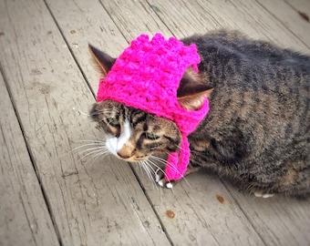 Pink Hat Crochet Cat Dog Hat Unique Handmad Pet Accessories