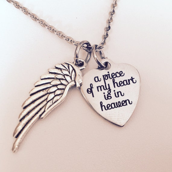 remembrance necklace a piece of my heart is in heaven