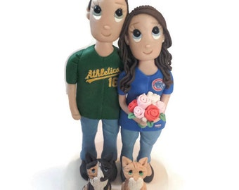 Custom Sports Wedding Cake Topper In Jerseys With 2 Cats