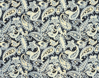 Destash Paisley Cotton Fabric, 2 Pieces, 1 3/4 Yards Total, Buttercream Black, Gold, Gray Paisley Cotton Fabric, Destash Fabric Paisley