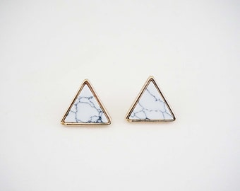 Marble and Gold Triangle Post Stud Earrings