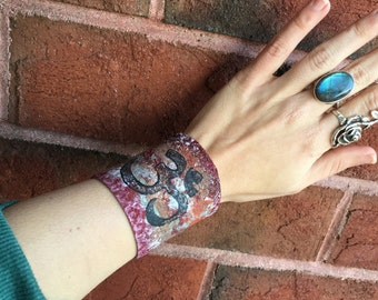 Rustic Bohemian Painted Leather Cuff Snap Om Bracelet