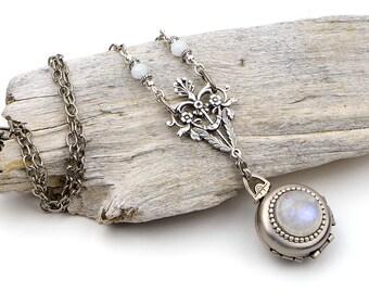 Moonstone Necklace, Photo Locket, Locket Necklace, 4 Picture Locket, Moonstone Pendant, 4 Photo Locket, Locket Gift, Mom, Wife, Girlfriend