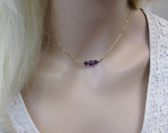 Amethyst Choker Necklace, Gold Filled Amethyst Necklace, Amethyst Gemstone, February Birthstone, Layering Necklace, Petite, Purple Necklace