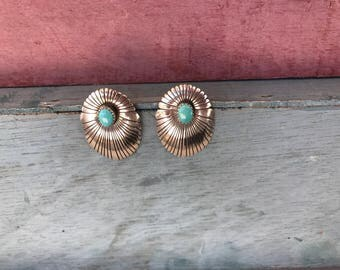 Navajo Sleeping Beauty Turquoise Sterling Silver Post Stud Concho Earrings 7.5g. Native American Indian Southwestern Tribal Old Dead Pawn