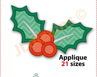 Holly Applique Design. Holly embroidery design. Embroidery design holly leaves. Christmas embroidery design holly. Machine embroidery design