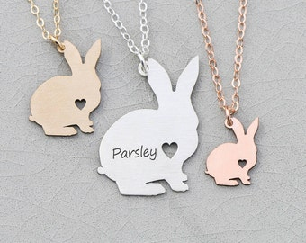 SALE • Bunny Necklace Pet Rabbit Gift Bunny Silver Pet Bunny Rabbit • Custom Little Bunny Rose Gold Animal Pendant Bunny Outline Bunny Loss