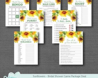 Sunflowers Bridal Shower Game Package Deal Printable, Savings, Set, Bundle, Sale, Yellow, Lingerie Shower, Bachelorette Party, 40S
