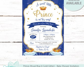 Prince Royal Blue Baby Shower Invitation Printable, Baby shower Invite, Gold Glitter, Boy, Blue and Gold, Crown, 20P