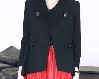 90s Vintage ladies blazer, made in USA, black fine wool jacket, working-girl, power-suit, big shoulders S-M/ US 8
