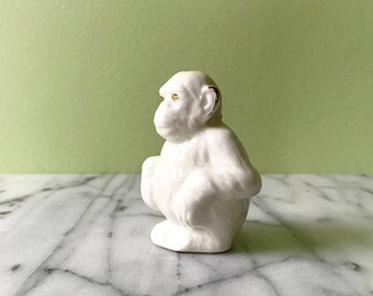 Arcadian Crested China Sitting Monkey Arms of Lyme -Regis Crest