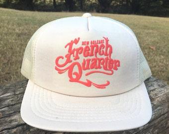 New Orleans French Quarter Trucker Hat - Vintage NOLA Snapback - White and Neon Orange Hat - Louisiana Hat - Bourbon Street Mardi Gras Hat