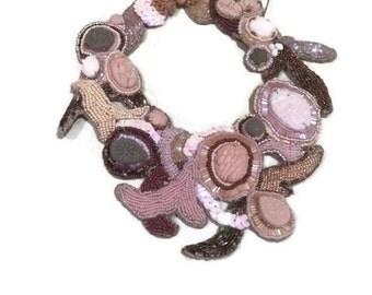 SEA OF DIVERSITY skin tone colored handsewn statement bib necklace