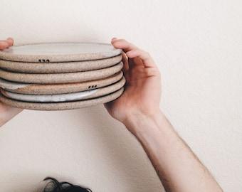 minimalist toast plate, wheelthrown ceramic plate, speckled grey pottery plate, minimalist gray tableware, stoneware dinnerware