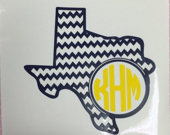 Texas decal/Monogrammed Texas decal/Texas monogrammed car decal/Texas phone decal/Texas Laptop Decal/Texas Yeti Decal