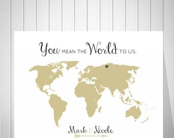 World Map Wedding Guest Book, You Mean The World To Us, Foam Board Map, Push Pin World Map, Anniversary Gift For Couple - 47577