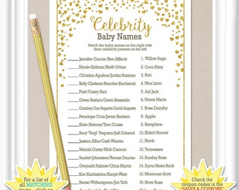 CELEBRITY BABY NAME game, Baby Shower game with tiny gold hearts, diy Printable, 82BA