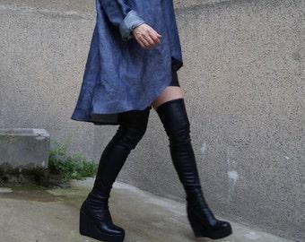 NEW/Denim Shirt/Denim Blouse/Asymmetrical top/Over sized Top/Jeans Blouse/Loose shirt/Denim tunic/V neck shirt /Denim dress/Dress/F1631