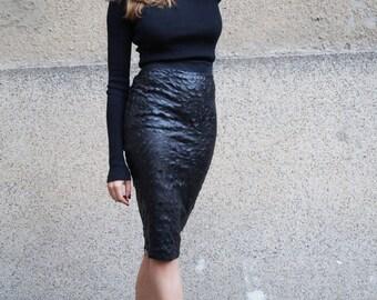 Vegan Leather Pencil Skirt/Fitted/Everyday Skirt/Formal Skirt/Party Skirt/Black Faux Leather Skirt/Fashion Skirt/Adjustable Slit Skirt/F1113