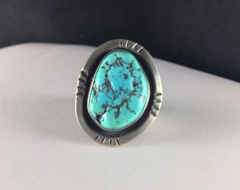 Heavy Southwestern Turquoise and Sterling Silver Ring with Large Blue Turquoise Stone with Black Veins and Southwestern Details // Sz: 11