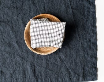 Washed large linen napkins / Set of 4, 6, 8 or 12 washed handmade linen napkins in charcoal