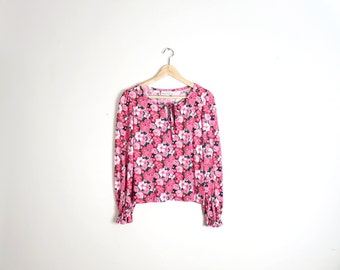 Vintage 70s/80s Flower Power Bold Floral Print Tie Collar Billow Sleeve Jersey Knit Top Size M
