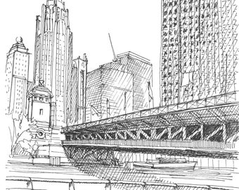 Ink Sketch of the Michigan Avenue Bridge in Chicago