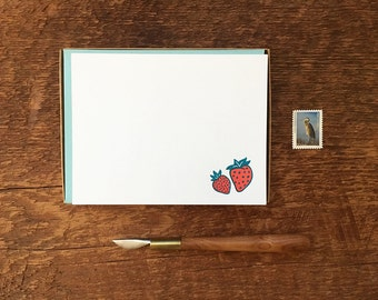 Strawberry Stationery, Strawberry Motif, Boxed Set of 8 Letterpress Flat Notes, Boxed Stationery