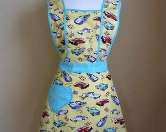 Retro Apron / Vintage Style Apron / Womens Apron / American Cars Apron /  1940s Style Apron / Yellow Apron /Retro Car Apron / Car Apron /