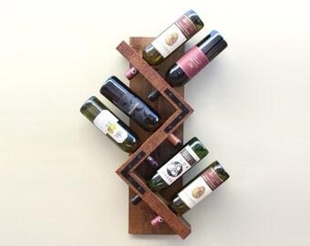 Zig Zag Wine Rack, Rustic Wood Wine Bottle Display Wall Mounted