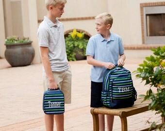 Monogrammed Backpack or Lunchbox - Shoreline - Personalized Backpack