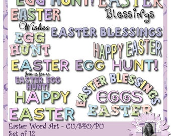 Easter Word Art, Egg Hunt, Easter Blessings, Easter Egg Hunt, Spring, Spring Break, Easter, Blessed, Digital Word Art, Digital Scrapbooking