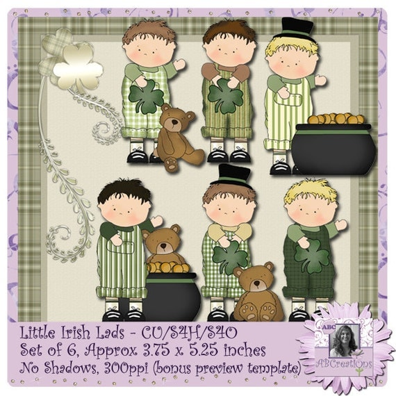 Little Irish Lads, Little Irish Fellows, Clip Art, Stickers, Saint Patrick's Day, St. Paddy's Day, St. Patty's Day, digital scrapbooking