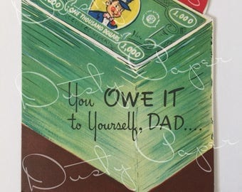 Dad's Birthday - Outstanding Vintage 1940s Die-Cut Card