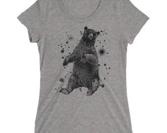 Bear Tshirt - Bear T Shirt - Bear Tee - Graphic Tee For Women - Gift for Her - Ladies Tshirt - by Bloom Bloom Wear