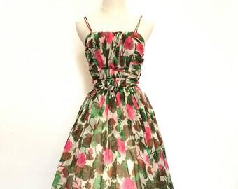 1950s Watercolour Rose Dress