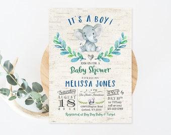 Elephant Baby Shower Invitation Rustic Animal Boy Baby Shower Invitation Little Peanut Baby Shower Boy Invites Printable No.1265BABY