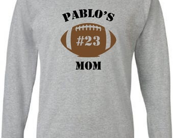 Personalized football mom shirt.  Long sleeve in grey. Football mom shirt. Custom football mom tshirt. Football dad shirt. favorite player