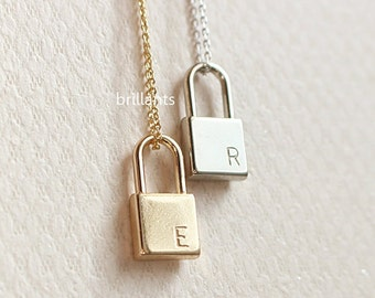 Personalized Lock necklace, Initial necklace, Monogram necklace, Bridesmaid necklace, Bridesmaid gift, Wedding necklace