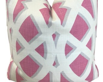 Pink Geometric Pillow Cover Pink Trellis Pillow P Kaufmann Elton Pink/ Solid White Linen on Reverse  ONE PILLOW COVER