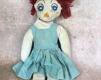 vintage handmade folk art doll, Raggedy Ann type doll, cloth doll, rag doll, fabric doll